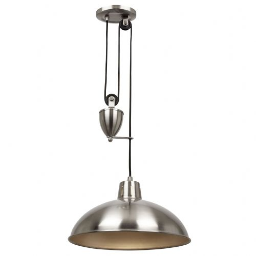 Single Rise & Fall Ceiling Pendant In Satin Nickel POLKA-SN